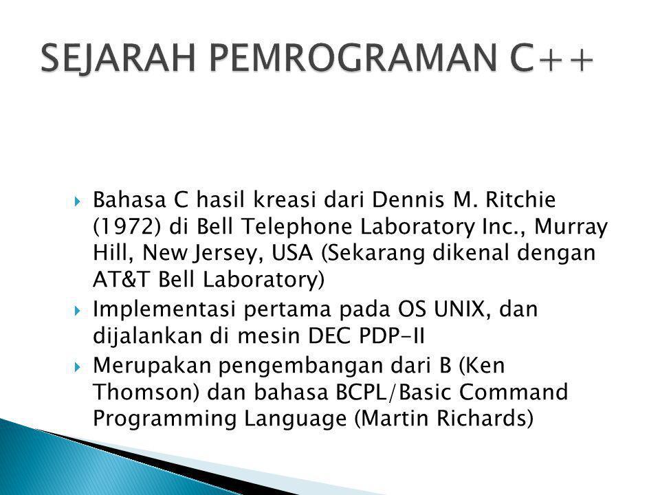  Bahasa C hasil kreasi dari Dennis M. Ritchie (1972) di Bell Telephone Laboratory Inc., Murray Hill, New Jersey, USA (Sekarang dikenal dengan AT&T Be