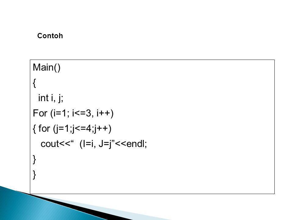 "Contoh Main() { int i, j; For (i=1; i<=3, i++) { for (j=1;j<=4;j++) cout<<"" (I=i, J=j""<<endl; }"