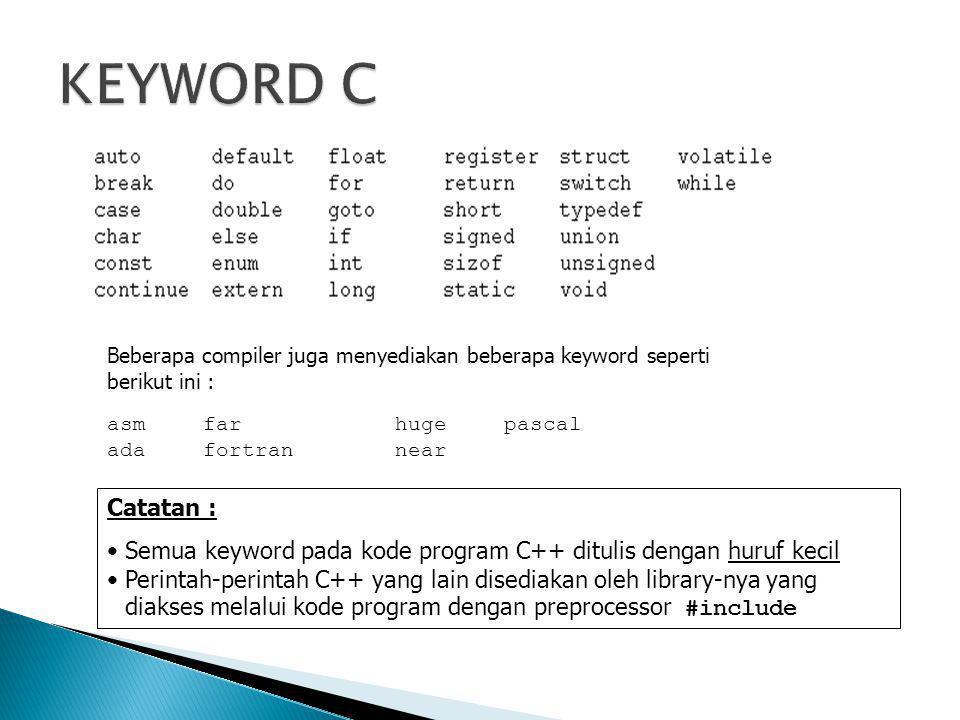 Beberapa compiler juga menyediakan beberapa keyword seperti berikut ini : asmfarhuge pascal ada fortran near Catatan : •Semua keyword pada kode progra