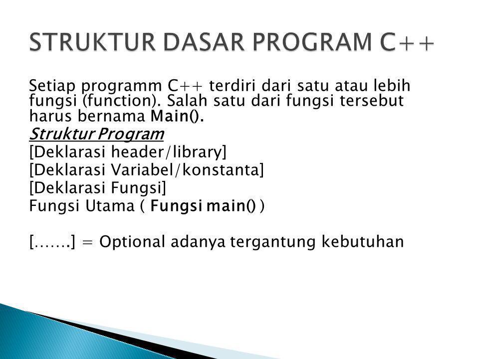 Setiap programm C++ terdiri dari satu atau lebih fungsi (function). Salah satu dari fungsi tersebut harus bernama Main(). Struktur Program [Deklarasi