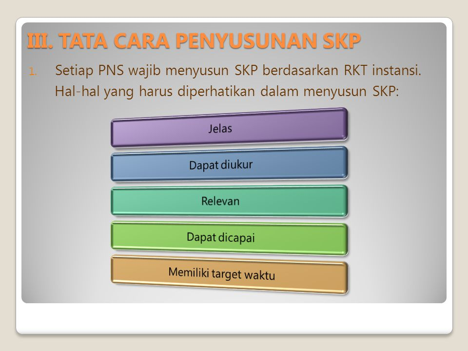III.TATA CARA PENYUSUNAN SKP 1. Setiap PNS wajib menyusun SKP berdasarkan RKT instansi.