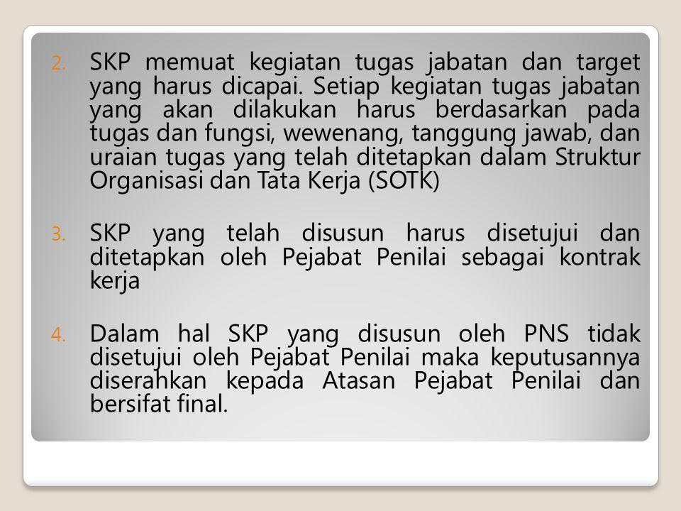 2.SKP memuat kegiatan tugas jabatan dan target yang harus dicapai.