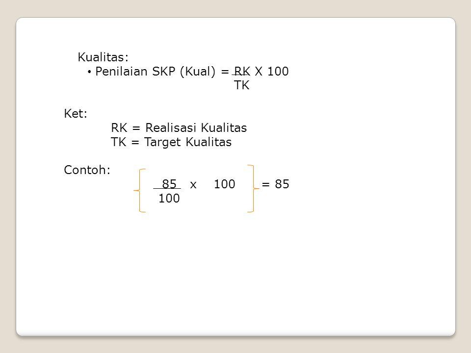 Kualitas: • Penilaian SKP (Kual) = RK X 100 TK Ket: RK = Realisasi Kualitas TK = Target Kualitas Contoh: 85 x 100 = 85 100