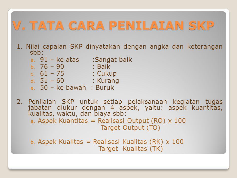 V.TATA CARA PENILAIAN SKP 1. Nilai capaian SKP dinyatakan dengan angka dan keterangan sbb: a.