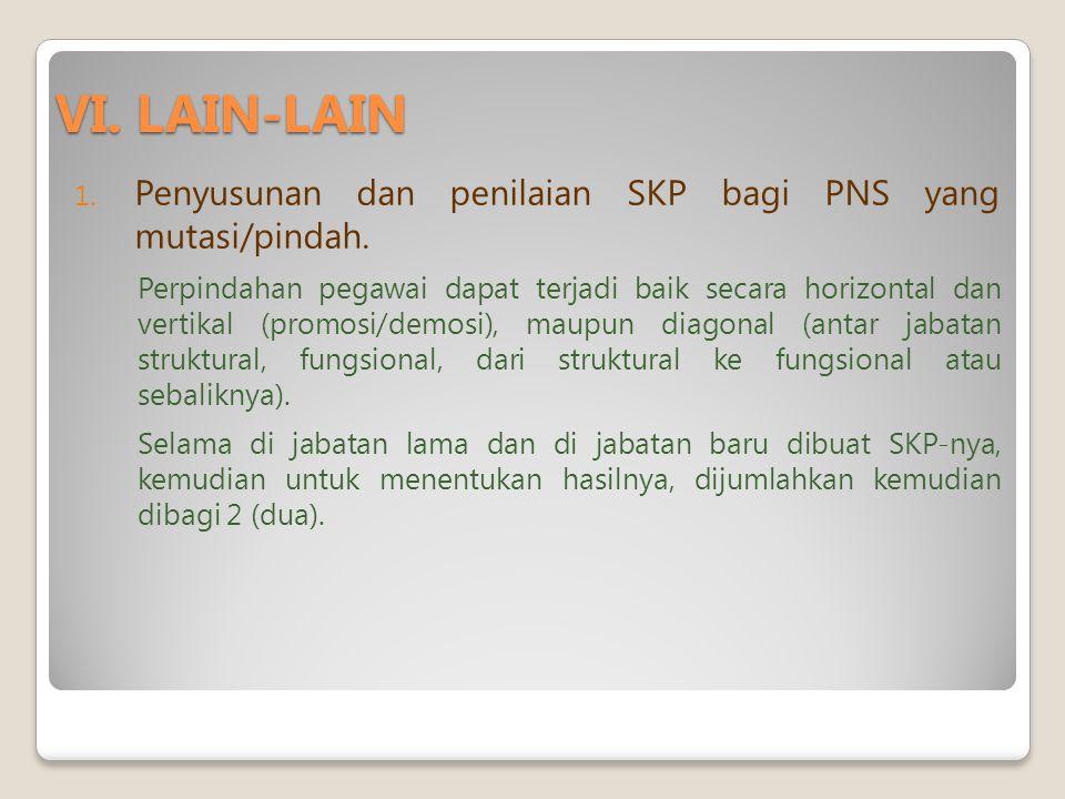 VI.LAIN-LAIN 1. Penyusunan dan penilaian SKP bagi PNS yang mutasi/pindah.