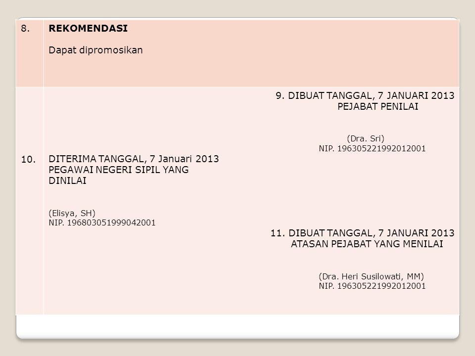 8.REKOMENDASI Dapat dipromosikan 10.9. DIBUAT TANGGAL, 7 JANUARI 2013 PEJABAT PENILAI (Dra.