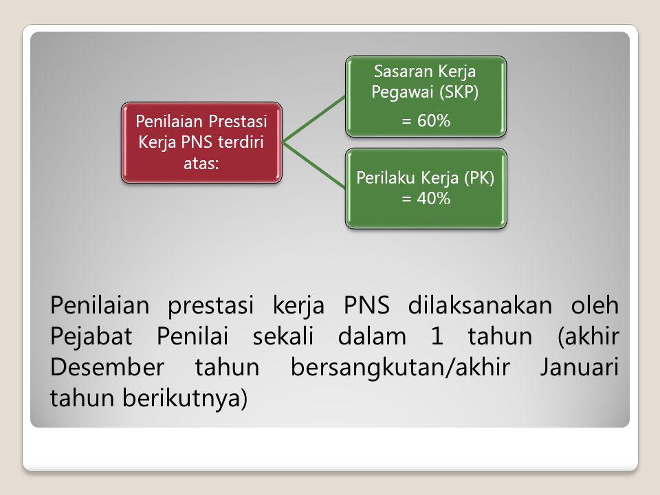 Penilaian prestasi kerja PNS dilaksanakan oleh Pejabat Penilai sekali dalam 1 tahun (akhir Desember tahun bersangkutan/akhir Januari tahun berikutnya) Penilaian Prestasi Kerja PNS terdiri atas: Sasaran Kerja Pegawai (SKP) = 60% Perilaku Kerja (PK) = 40%