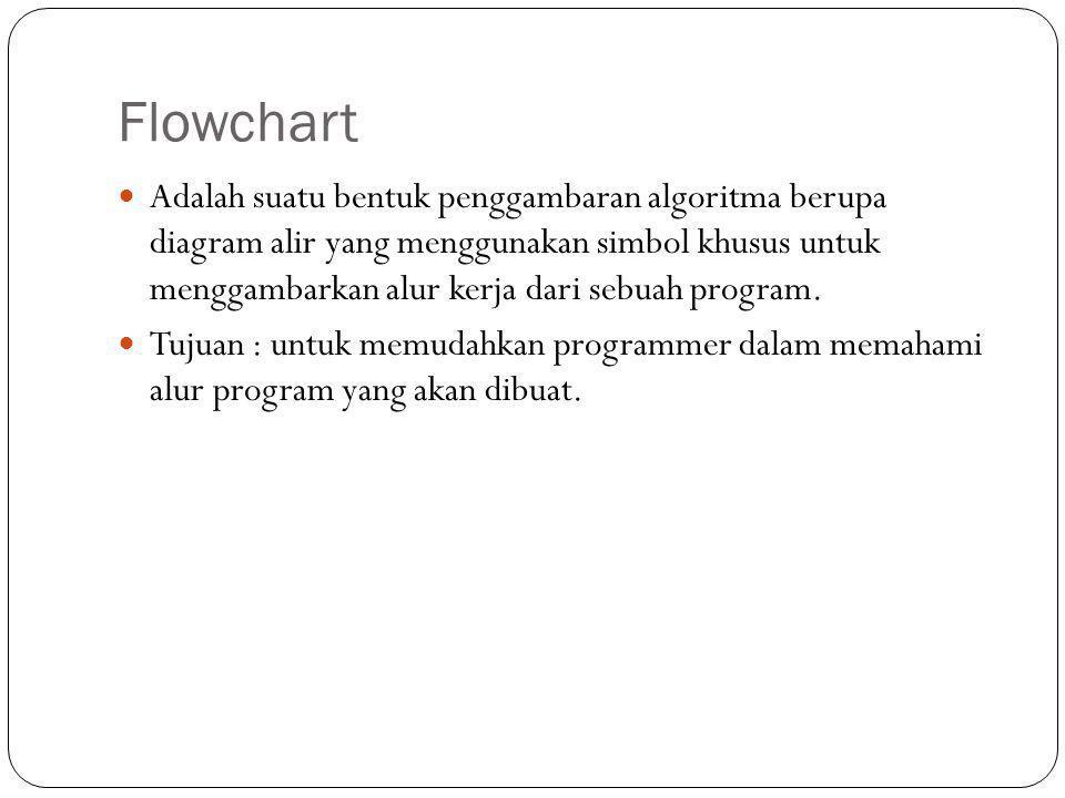Flowchart  Adalah suatu bentuk penggambaran algoritma berupa diagram alir yang menggunakan simbol khusus untuk menggambarkan alur kerja dari sebuah p