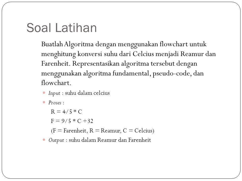 Soal Latihan Buatlah Algoritma dengan menggunakan flowchart untuk menghitung konversi suhu dari Celcius menjadi Reamur dan Farenheit. Representasikan