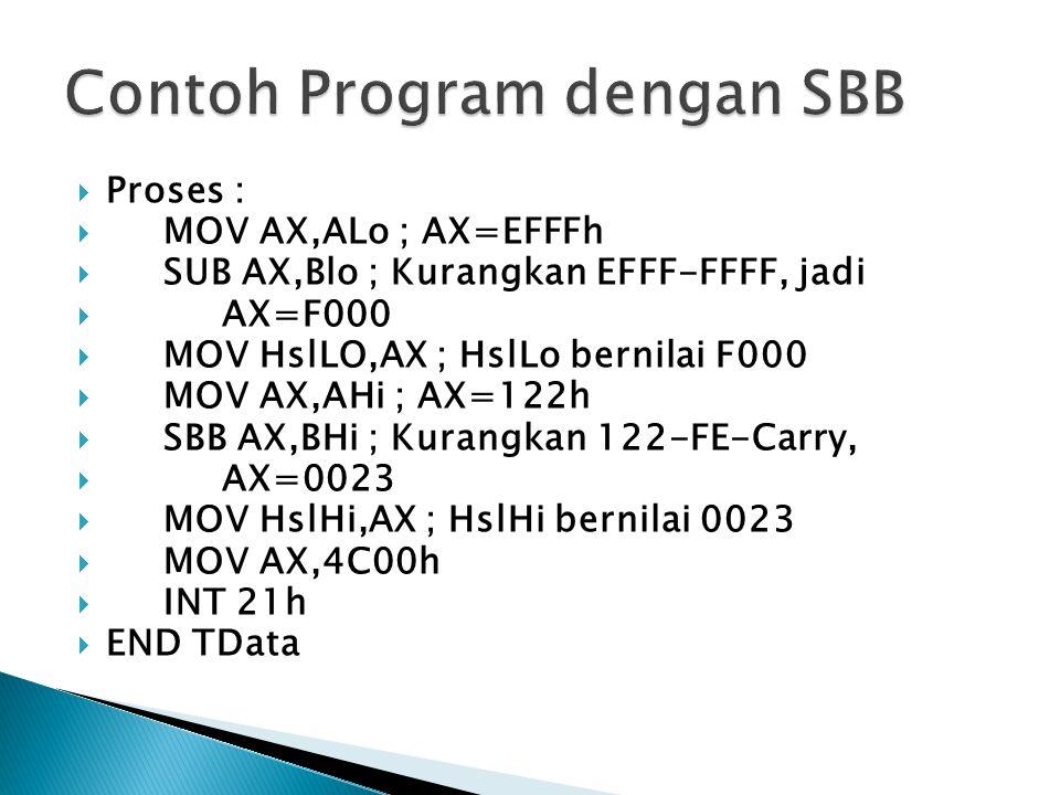  Proses :  MOV AX,ALo ; AX=EFFFh  SUB AX,Blo ; Kurangkan EFFF-FFFF, jadi  AX=F000  MOV HslLO,AX ; HslLo bernilai F000  MOV AX,AHi ; AX=122h  SB