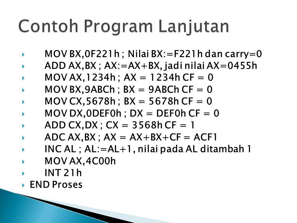  MOV BX,0F221h ; Nilai BX:=F221h dan carry=0  ADD AX,BX ; AX:=AX+BX, jadi nilai AX=0455h  MOV AX,1234h ; AX = 1234h CF = 0  MOV BX,9ABCh ; BX = 9ABCh CF = 0  MOV CX,5678h ; BX = 5678h CF = 0  MOV DX,0DEF0h ; DX = DEF0h CF = 0  ADD CX,DX ; CX = 3568h CF = 1  ADC AX,BX ; AX = AX+BX+CF = ACF1  INC AL ; AL:=AL+1, nilai pada AL ditambah 1  MOV AX,4C00h  INT 21h  END Proses