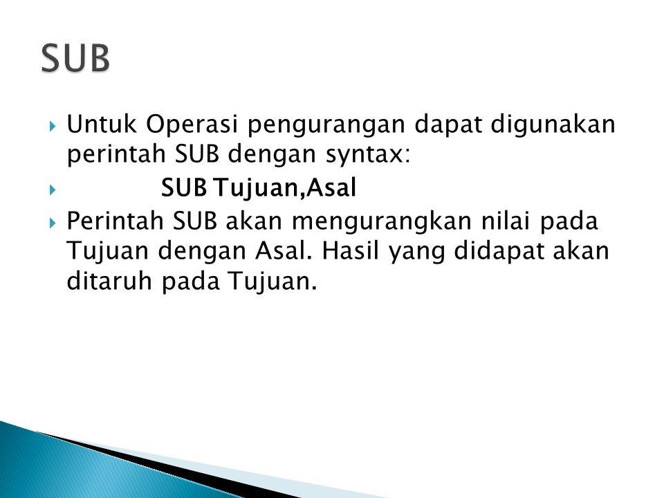  Untuk Operasi pengurangan dapat digunakan perintah SUB dengan syntax:  SUB Tujuan,Asal  Perintah SUB akan mengurangkan nilai pada Tujuan dengan As