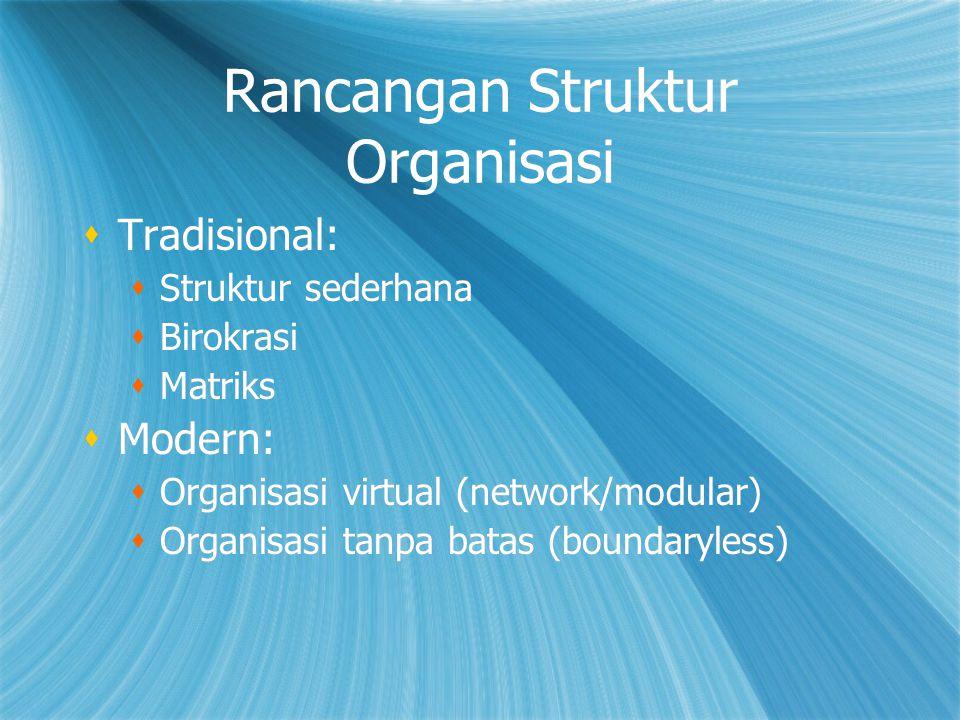Rancangan Struktur Organisasi  Tradisional:  Struktur sederhana  Birokrasi  Matriks  Modern:  Organisasi virtual (network/modular)  Organisasi tanpa batas (boundaryless)  Tradisional:  Struktur sederhana  Birokrasi  Matriks  Modern:  Organisasi virtual (network/modular)  Organisasi tanpa batas (boundaryless)