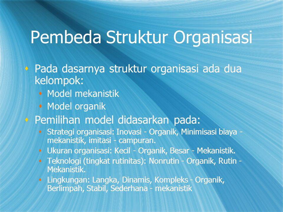 Pembeda Struktur Organisasi  Pada dasarnya struktur organisasi ada dua kelompok:  Model mekanistik  Model organik  Pemilihan model didasarkan pada:  Strategi organisasi: Inovasi - Organik, Minimisasi biaya - mekanistik, imitasi - campuran.