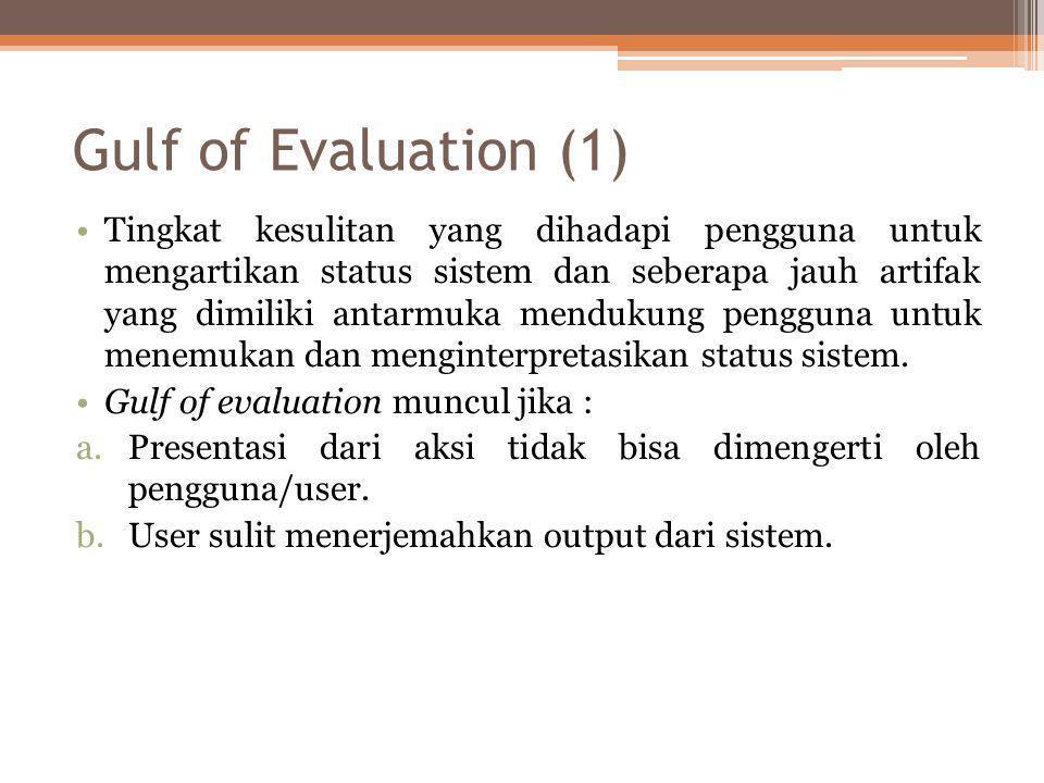 Gulf of Evaluation (1) •Tingkat kesulitan yang dihadapi pengguna untuk mengartikan status sistem dan seberapa jauh artifak yang dimiliki antarmuka men
