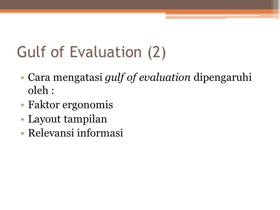 Gulf of Evaluation (2) •Cara mengatasi gulf of evaluation dipengaruhi oleh : •Faktor ergonomis •Layout tampilan •Relevansi informasi