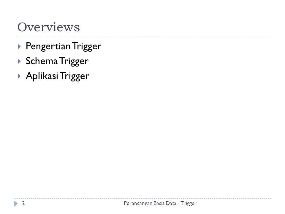 Pengertian Trigger  Database triggers adalah prosedur yang tersimpan dalam database dan di aktifkan ketika kondisi tertentu terjadi  Dapat digunakan untuk menambah kapabilitas agar database mampu dikostumasi secara sistematis.