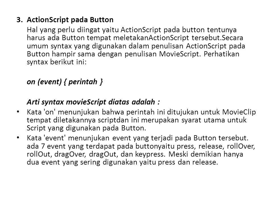 3. ActionScript pada Button Hal yang perlu diingat yaitu ActionScript pada button tentunya harus ada Button tempat meletakanActionScript tersebut.Seca