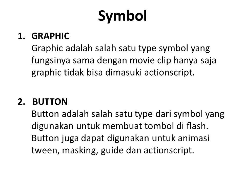 Symbol 1.GRAPHIC Graphic adalah salah satu type symbol yang fungsinya sama dengan movie clip hanya saja graphic tidak bisa dimasuki actionscript.