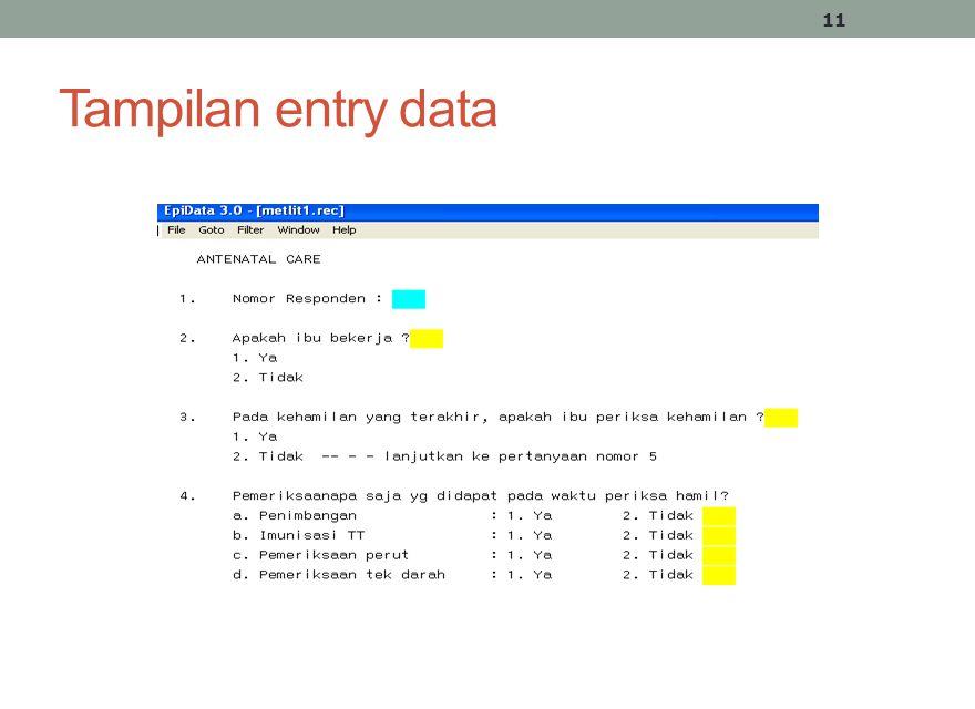 Tampilan entry data 11