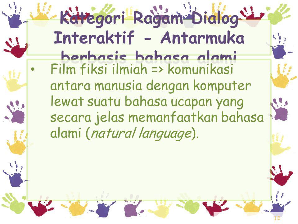12 Kategori Ragam Dialog Interaktif - Antarmuka berbasis bahasa alami • Film fiksi ilmiah => komunikasi antara manusia dengan komputer lewat suatu bah