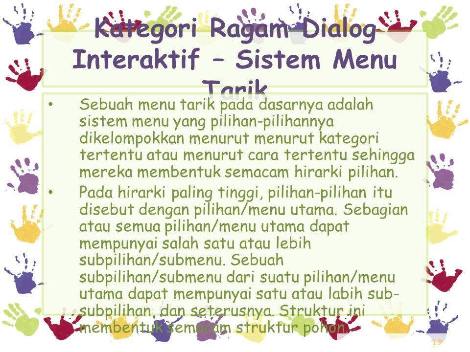 19 Kategori Ragam Dialog Interaktif – Sistem Menu Tarik • Sebuah menu tarik pada dasarnya adalah sistem menu yang pilihan-pilihannya dikelompokkan men