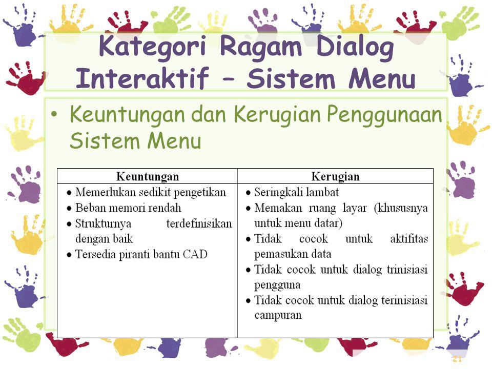 21 Kategori Ragam Dialog Interaktif – Sistem Menu • Keuntungan dan Kerugian Penggunaan Sistem Menu