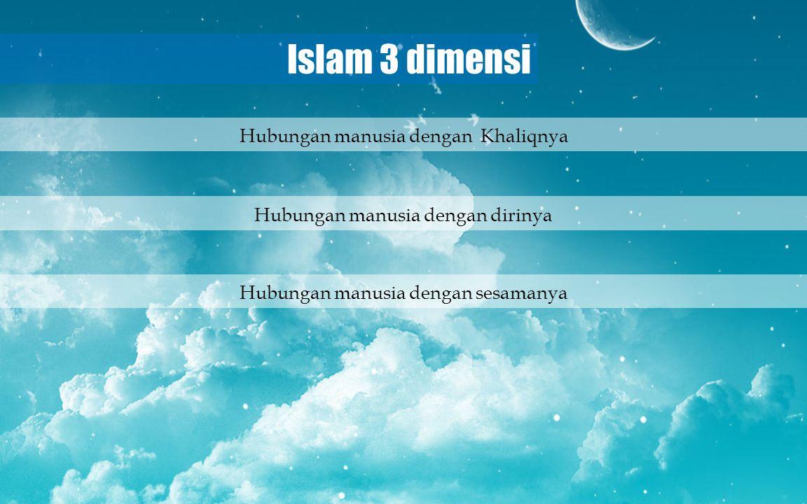 Islam 3 dimensi Hubungan manusia dengan dirinya Hubungan manusia dengan sesamanya Hubungan manusia dengan Khaliqnya