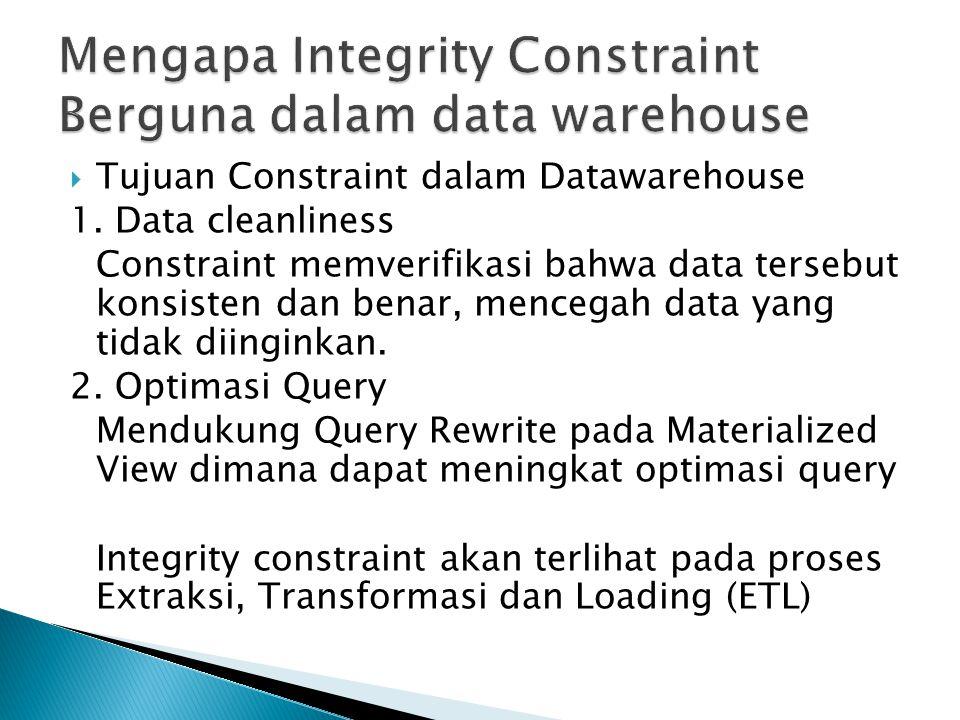  Tujuan Constraint dalam Datawarehouse 1. Data cleanliness Constraint memverifikasi bahwa data tersebut konsisten dan benar, mencegah data yang tidak