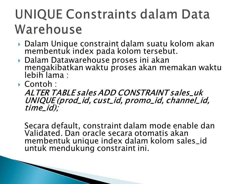  Dalam Unique constraint dalam suatu kolom akan membentuk index pada kolom tersebut.  Dalam Datawarehouse proses ini akan mengakibatkan waktu proses