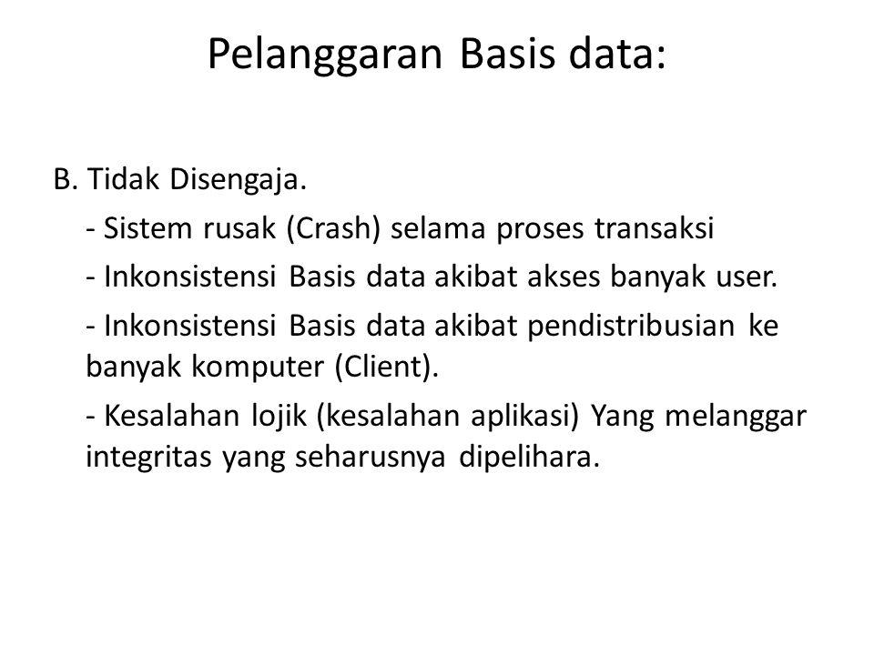 Pelanggaran Basis data: B. Tidak Disengaja. - Sistem rusak (Crash) selama proses transaksi - Inkonsistensi Basis data akibat akses banyak user. - Inko