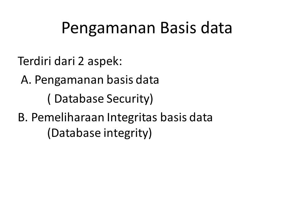Pengamanan Basis data Terdiri dari 2 aspek: A. Pengamanan basis data ( Database Security) B. Pemeliharaan Integritas basis data (Database integrity)