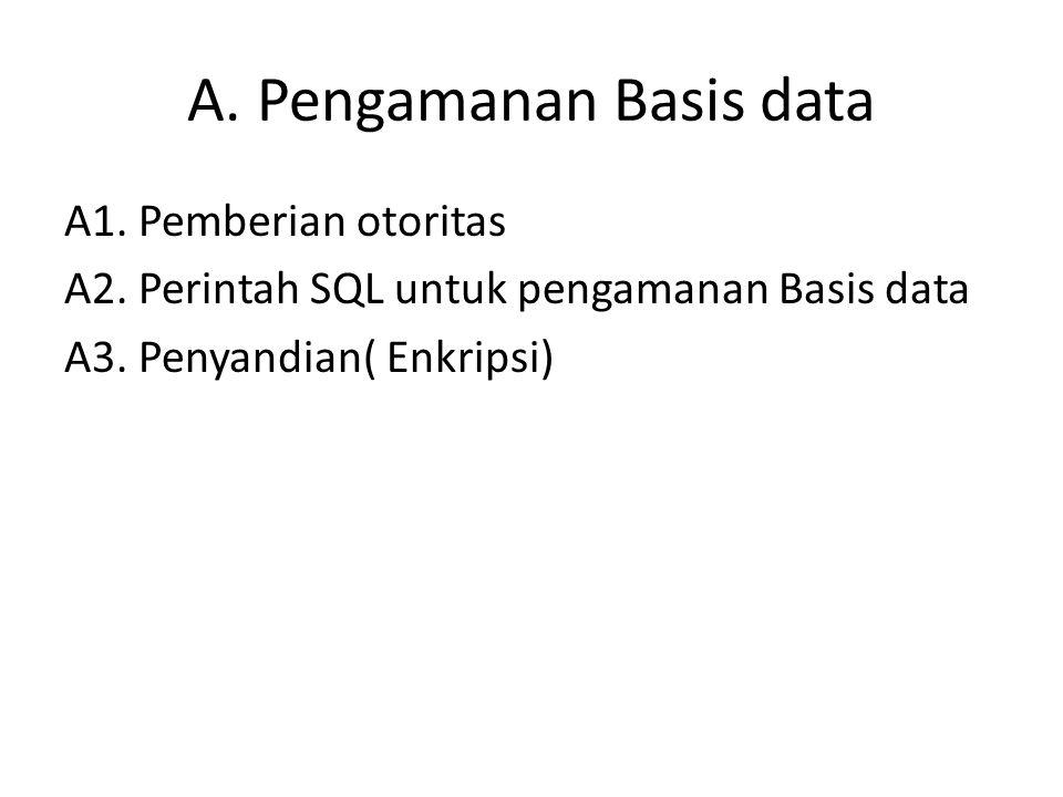 A. Pengamanan Basis data A1. Pemberian otoritas A2. Perintah SQL untuk pengamanan Basis data A3. Penyandian( Enkripsi)