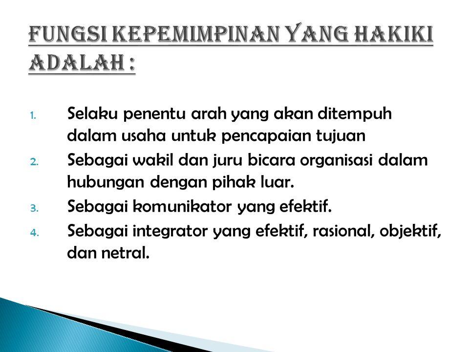 1.Selaku penentu arah yang akan ditempuh dalam usaha untuk pencapaian tujuan 2.