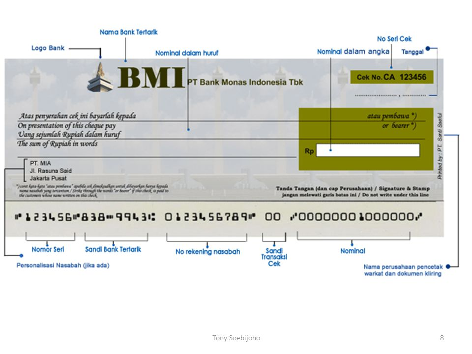 Syarat hukum dan penggunaan cek sebagai alat pembayaran giral (KUHDagang pasal 178) : 1.