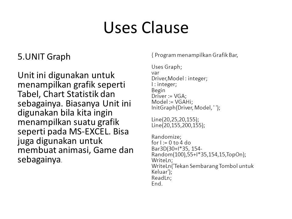 Uses Clause 5.UNIT Graph Unit ini digunakan untuk menampilkan grafik seperti Tabel, Chart Statistik dan sebagainya.