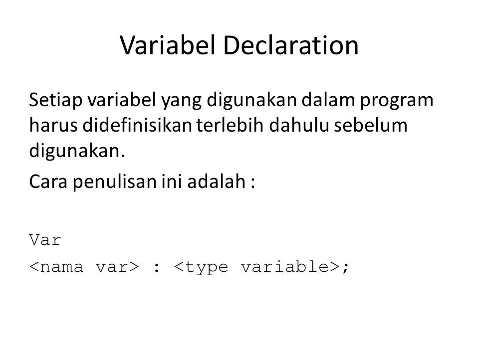 Variabel Declaration Setiap variabel yang digunakan dalam program harus didefinisikan terlebih dahulu sebelum digunakan.