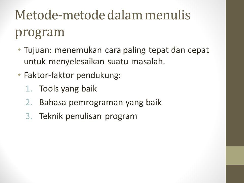 Metode-metode dalam menulis program • Tujuan: menemukan cara paling tepat dan cepat untuk menyelesaikan suatu masalah.