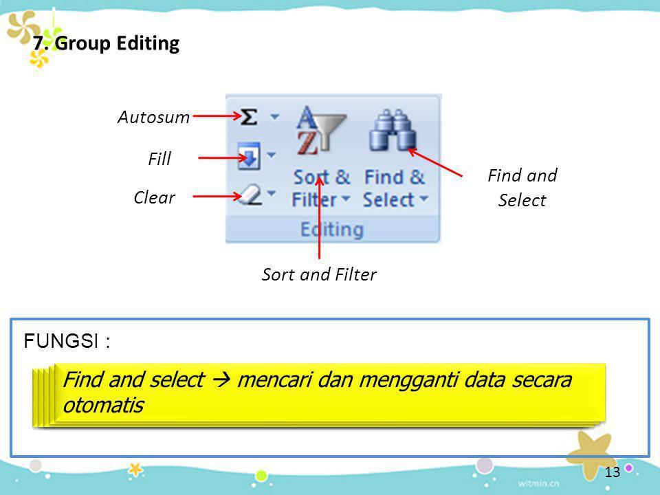 7. Group Editing Autosum Autosum  menjumlahkan data dalam suatu range sel yang telah ditentukan Fill Fill  membuat deret data suatu range, menyalin