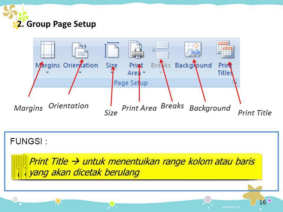 2. Group Page Setup Margins Margins  mengatur ukuran margin suatu dokumen, yaitu jarak tulisan terhadap tepi kertas Orientation Orientation  mengatu