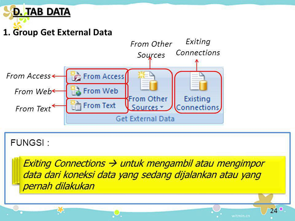 24 D. TAB DATA 1. Group Get External Data FUNGSI : From Access From Access  untuk mengambil atau mengimpor data dari program access From Web From Web
