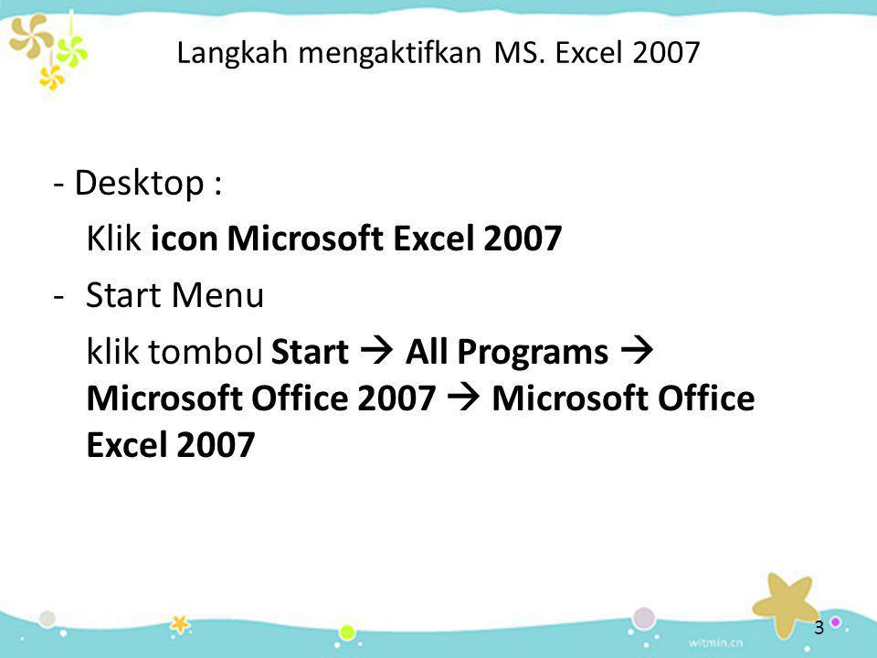 Langkah mengaktifkan MS. Excel 2007 - Desktop : Klik icon Microsoft Excel 2007 -Start Menu klik tombol Start  All Programs  Microsoft Office 2007 