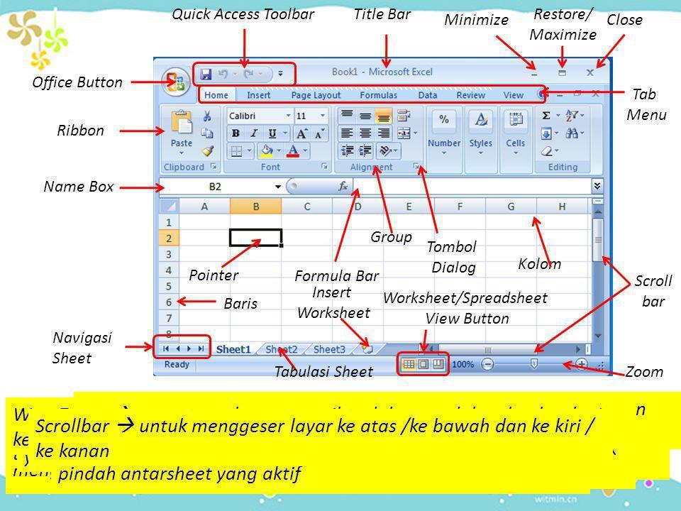 Office Button Office Button  berisi perintah untuk mengoperasikan file seperti menyimpan, membuka, menutup dan mencetak Quick Access Toolbar Quick Access Toolbar  perintah yang berisi tombol-tombol untuk mempercepat akses Title Bar Title Bar  bar untuk menampilkan nama workbook yang sedang aktif Minimize Minimize  meminimalkan ukuran jendela MS.