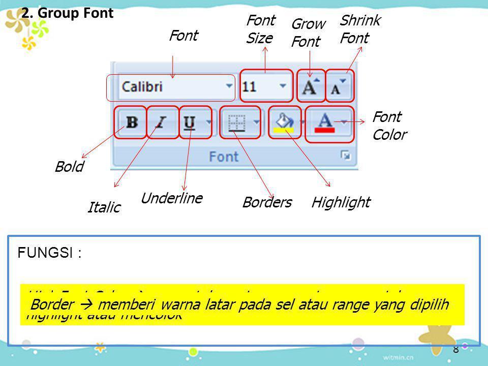 2. Group Font Font Size Font  mengubah jenis Font Font Font Size  mengubah ukuran Font Grow Font Grow Font  memperbesar font Shrink Font Shirnk Fon