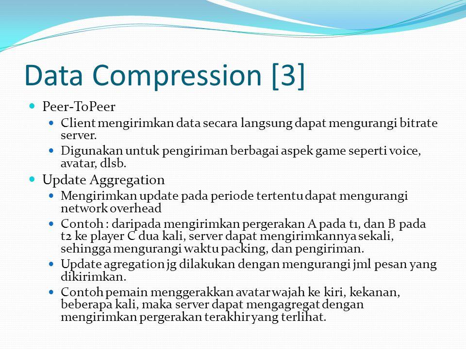 Data Compression [3]  Peer-ToPeer  Client mengirimkan data secara langsung dapat mengurangi bitrate server.  Digunakan untuk pengiriman berbagai as