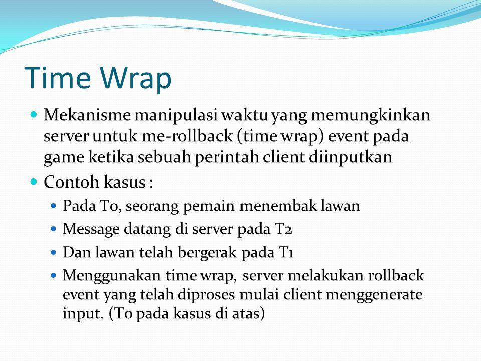 Time Wrap  Algoritma  Terima packet dari client  Ekstak informasi (user input)  Elapsed time = current time – latency to client  Rollback semua event dalam reverse order sampai current time – elapsed time  Eksekusi perintah user  Ulangi semua event untuk mengupdate efek dari client  Ulangi game loop.