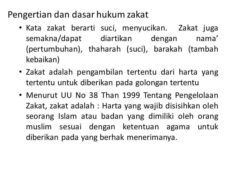 Pengertian dan dasar hukum zakat • Kata zakat berarti suci, menyucikan. Zakat juga semakna/dapat diartikan dengan nama' (pertumbuhan), thaharah (suci)