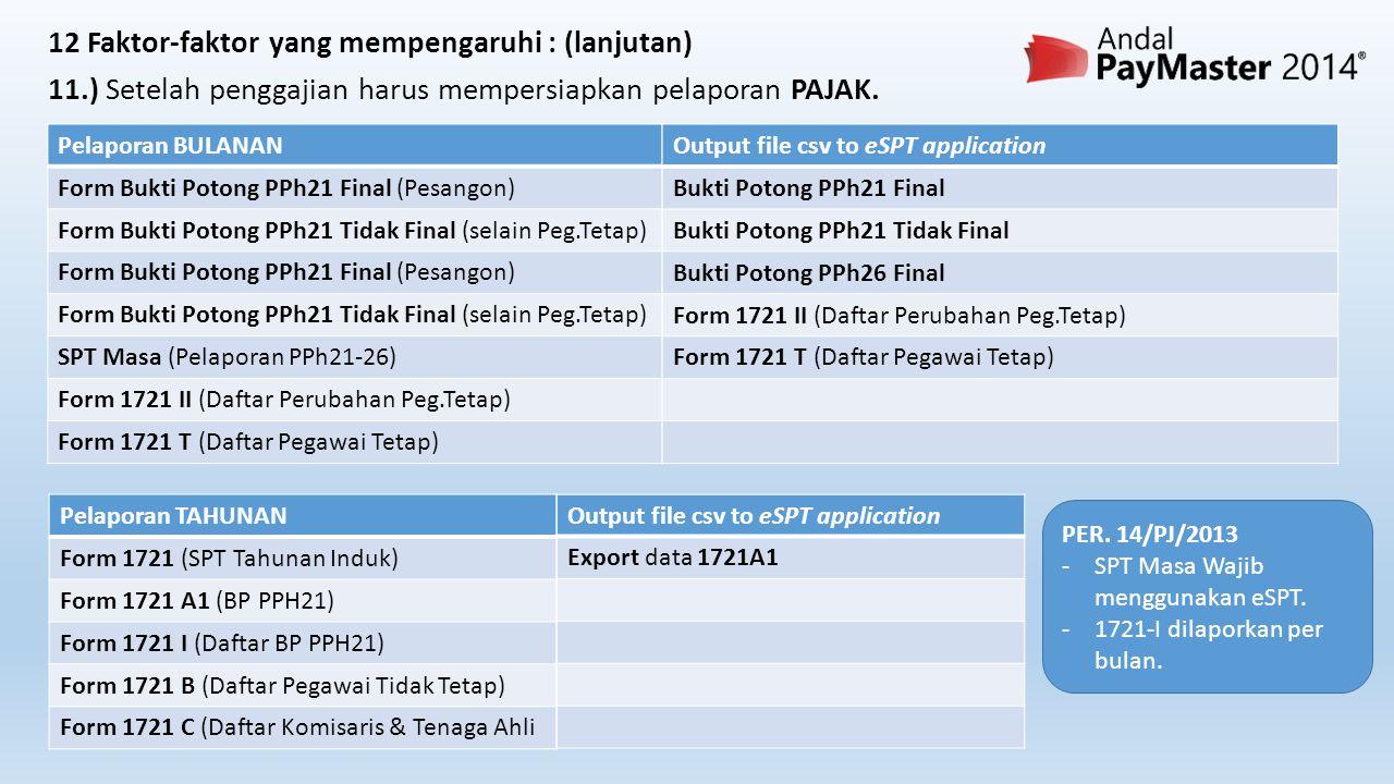 Pelaporan TAHUNAN Form 1721 (SPT Tahunan Induk) Form 1721 A1 (BP PPH21) Form 1721 I (Daftar BP PPH21) Form 1721 B (Daftar Pegawai Tidak Tetap) Form 1721 C (Daftar Komisaris & Tenaga Ahli Output file csv to eSPT application Export data 1721A1 Pelaporan BULANAN Form Bukti Potong PPh21 Final (Pesangon) Form Bukti Potong PPh21 Tidak Final (selain Peg.Tetap) Form Bukti Potong PPh21 Final (Pesangon) Form Bukti Potong PPh21 Tidak Final (selain Peg.Tetap) SPT Masa (Pelaporan PPh21-26) Form 1721 II (Daftar Perubahan Peg.Tetap) Form 1721 T (Daftar Pegawai Tetap) Output file csv to eSPT application Bukti Potong PPh21 Final Bukti Potong PPh21 Tidak Final Bukti Potong PPh26 Final Form 1721 II (Daftar Perubahan Peg.Tetap) Form 1721 T (Daftar Pegawai Tetap) 12 Faktor-faktor yang mempengaruhi : (lanjutan) 11.) Setelah penggajian harus mempersiapkan pelaporan PAJAK.