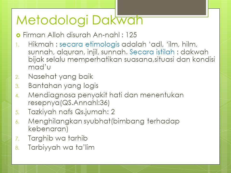 Metodologi Dakwah  Firman Alloh disurah An-nahl : 125 1. Hikmah : secara etimologis adalah 'adl, 'ilm, hilm, sunnah, alquran, injil, sunnah. Secara i
