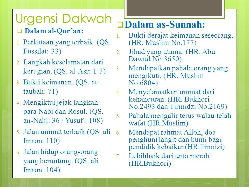 Urgensi Dakwah  Dalam al-Qur'an: 1. Perkataan yang terbaik. (QS. Fussilat: 33) 2. Langkah keselamatan dari kerugian. (QS. al-Asr: 1-3) 3. Bukti keima